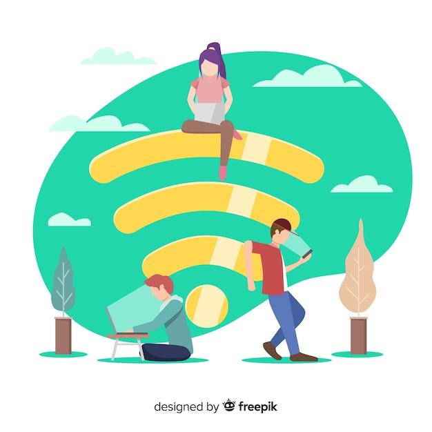 Conceito de wifi plana Vetor grátis