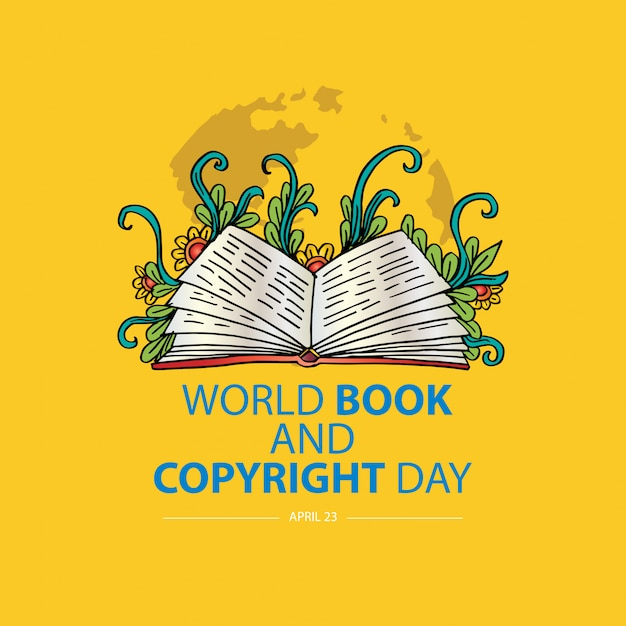 Conceito de world book e copyright day. 23 de abril Vetor Premium