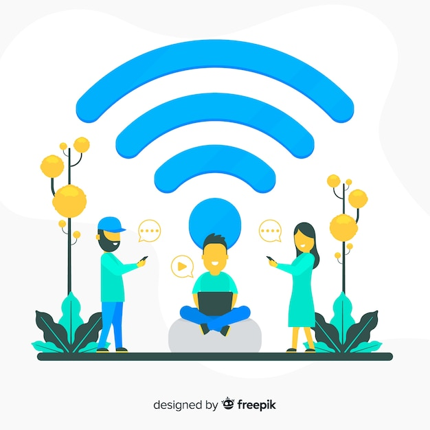Conceito de zona plana wifi com sinal Vetor grátis