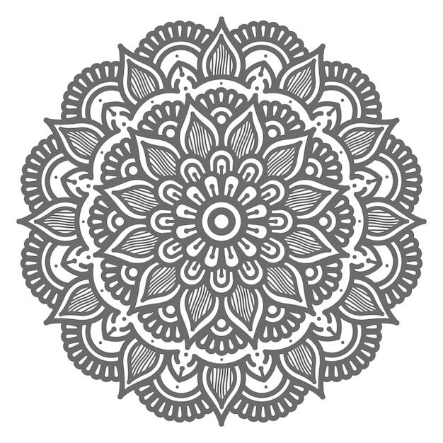 Conceito decorativo de círculo redondo ilustração linda mandala Vetor Premium