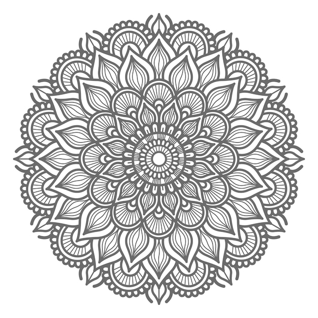 Conceito decorativo de ilustração de mandala desenhada à mão Vetor Premium