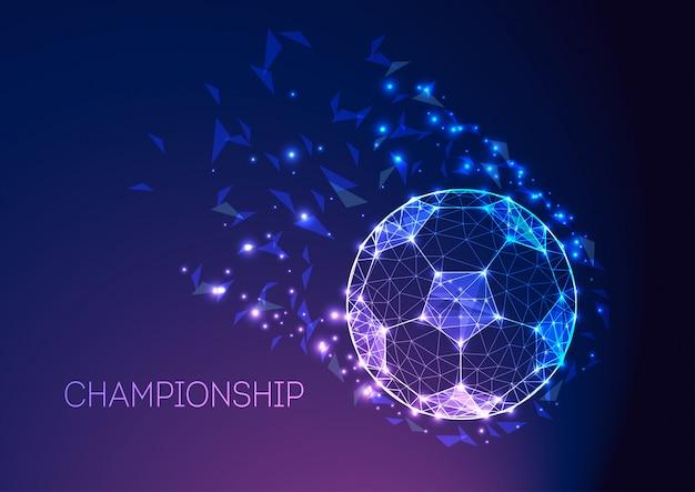 Conceito do campeonato do futebol com a bola de futebol futurista na obscuridade - inclinação roxo azul. Vetor Premium