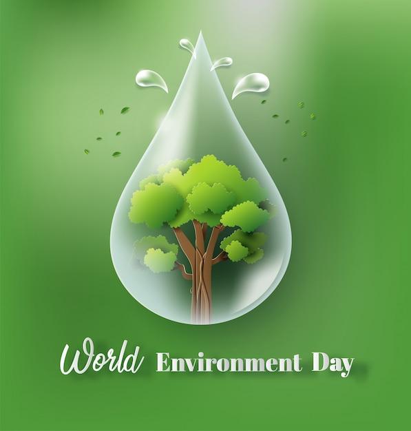 Conceito do dia de ambiente de mundo com gota e árvore da água. Vetor Premium