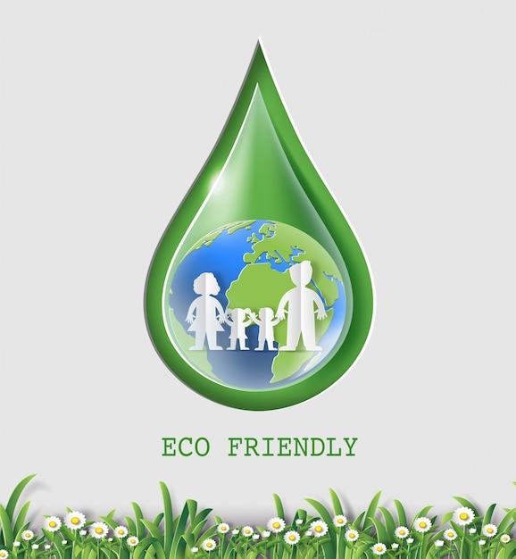 Conceito do dia de ambiente de mundo, gota da água com terra e família. Vetor Premium