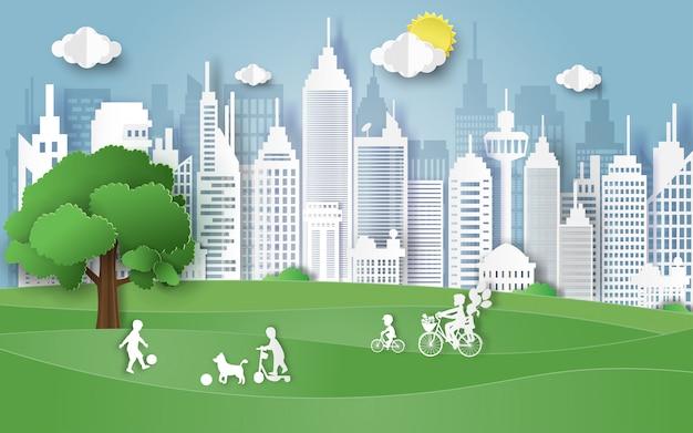 Conceito do dia do ambiente com a família no parque. Vetor Premium