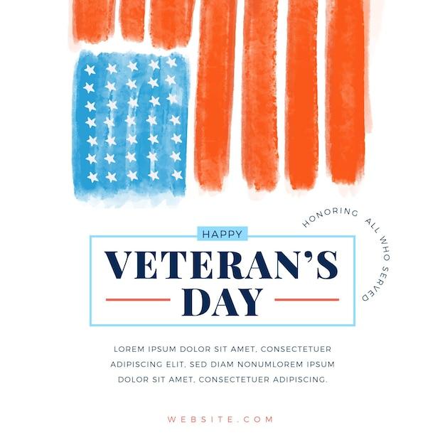 Conceito do dia dos veteranos em aquarela Vetor Premium