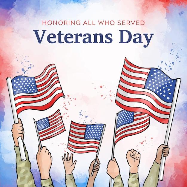Conceito do dia dos veteranos em aquarela Vetor grátis