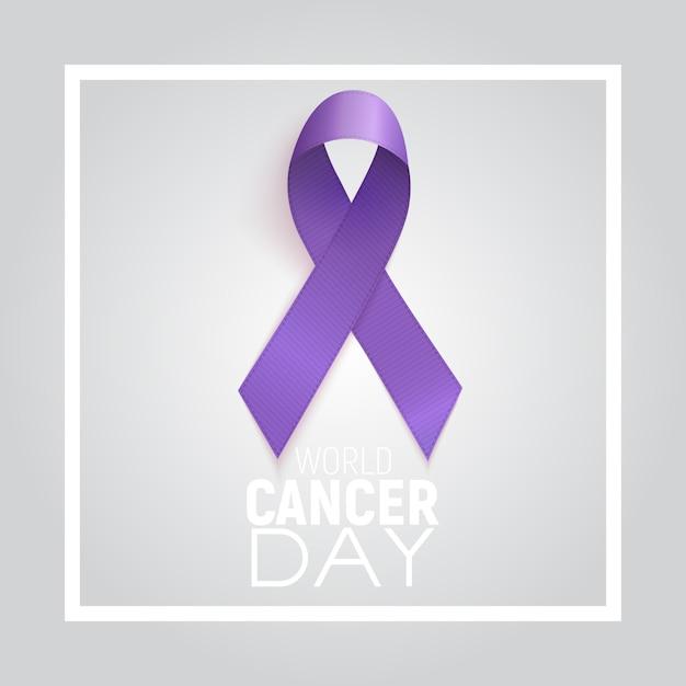 Conceito do dia mundial do câncer com fita de lavanda. Vetor Premium