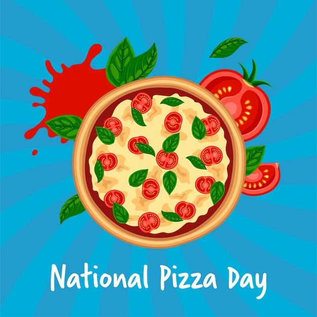 Conceito do dia nacional da pizza. margherita saborosa fresca com tomate, queijo, manjericão em fundo azul listrado. ilustração de fast food italiano plana Vetor Premium