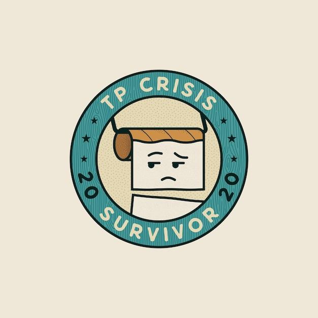Conceito do emblema do sobrevivente da crise do papel higiênico 2020 Vetor Premium