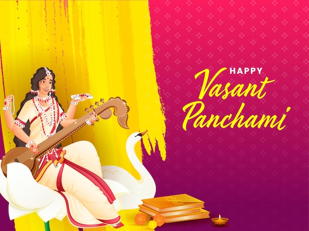 Conceito do festival indiano vasant panchmi com a deusa saraswati Vetor Premium