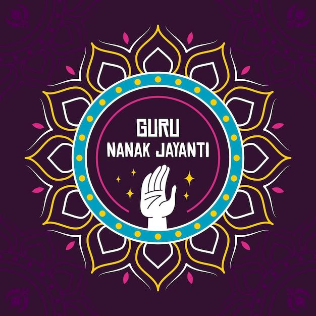 Conceito do guru nanak jayanti do design plano Vetor Premium
