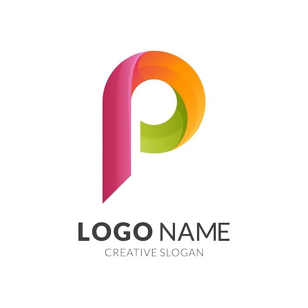 Conceito do logotipo da letra p, logotipo 3d moderno Vetor Premium