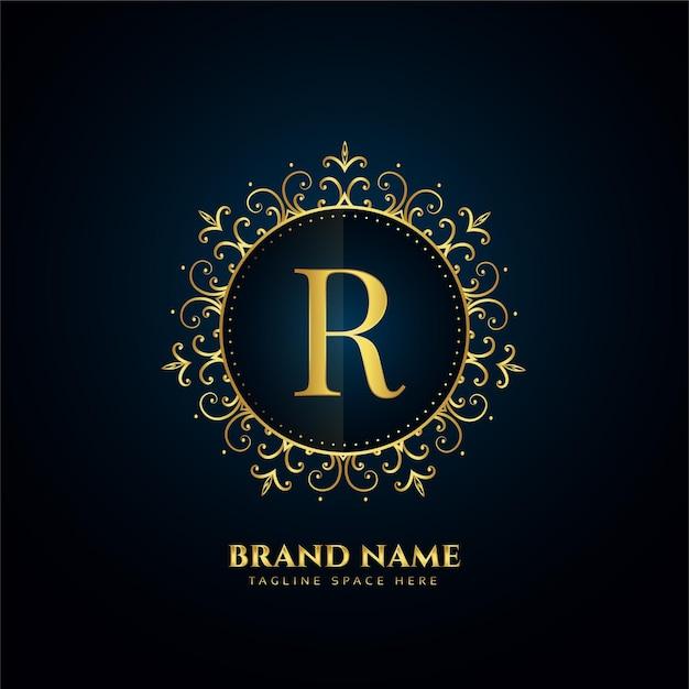 Conceito do logotipo da letra r com flores douradas Vetor grátis
