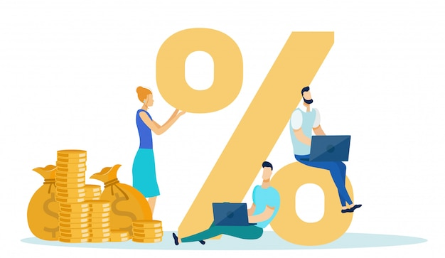 Conceito do lucro da renda da taxa de porcentagem, negócio. Vetor Premium