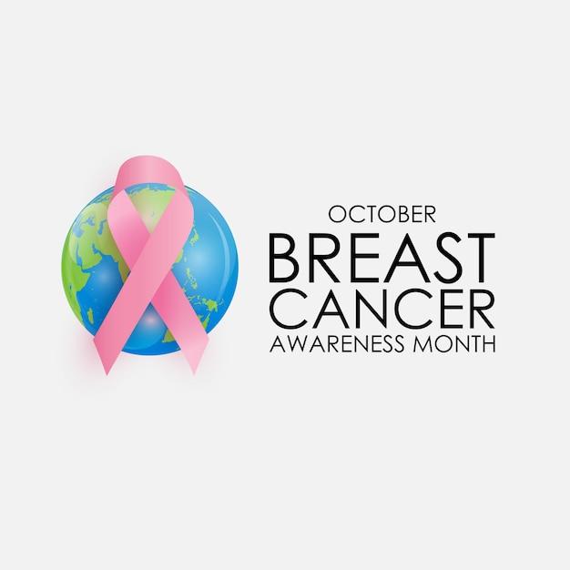 Conceito do mês da conscientização do câncer da mama de outubro. sinal de fita rosa Vetor Premium