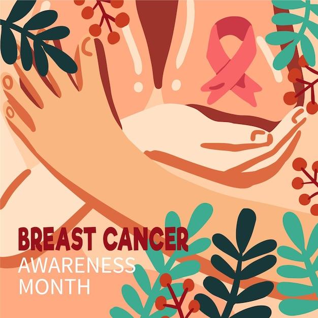 Conceito do mês de conscientização do câncer de mama Vetor grátis