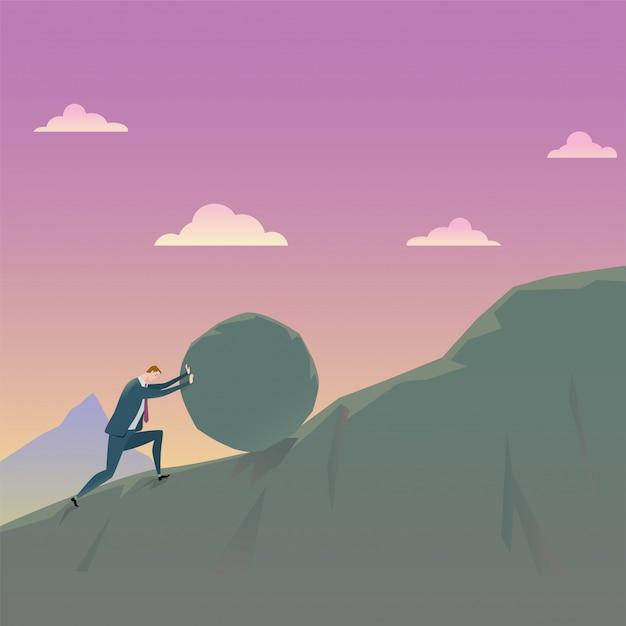 Conceito do negócio de conquistar o homem de negócios da adversidade que empurra uma rocha subida. Vetor Premium