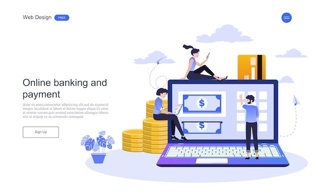 Conceito do negócio do molde da web da página da aterrissagem para a operação bancária em linha, transação financeira. Vetor Premium