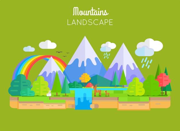 Conceito do vetor da paisagem das montanhas no projeto liso. Vetor Premium