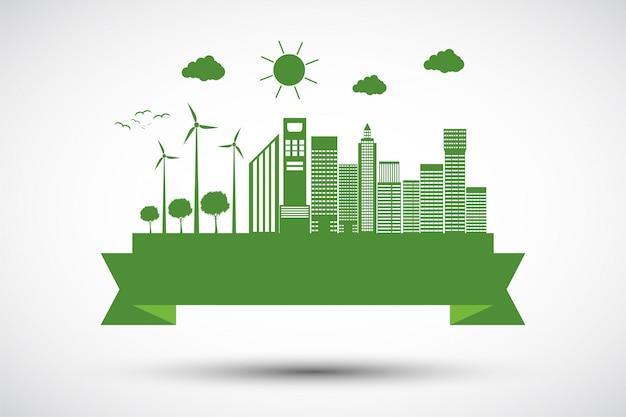 Conceito e ambiente da cidade da ecologia com ideias eco-amigáveis Vetor Premium