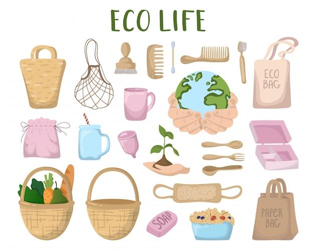 Conceito ecológico - eco sacos, talheres, coisas Vetor Premium