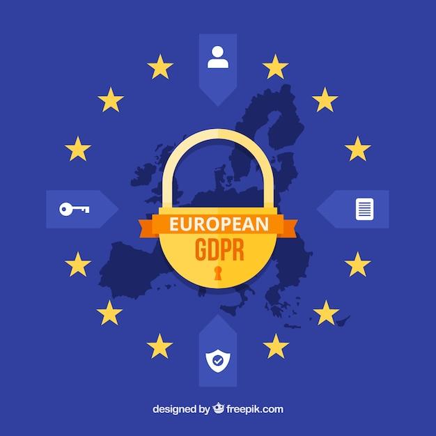 Conceito europeu de gdpr com design plano Vetor grátis