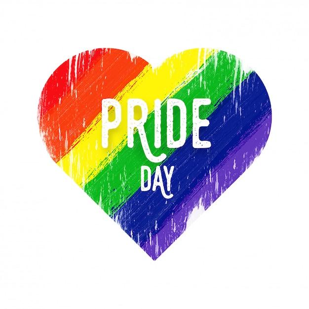 Conceito feliz do dia do orgulho com forma do coração para a comunidade de lgbtq. Vetor Premium