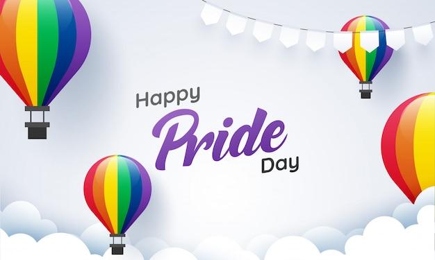 Conceito feliz do dia do orgulho com os balões de ar quente da cor do arco-íris para a comunidade de lgbtq. Vetor Premium