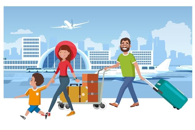 Conceito feliz do vetor do curso das férias de verão da família Vetor Premium