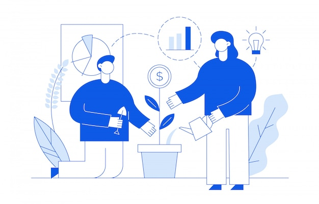 Conceito financeiro, com, pessoas Vetor Premium