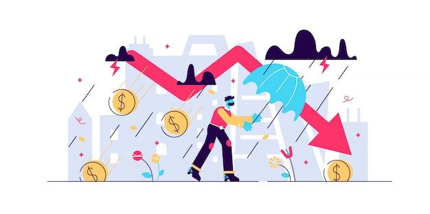 Conceito financeiro da tempestade da retirada, ilustração minúscula da pessoa do negócio. recessão da economia mundial e risco de colapso do mercado global. desafios de perda de falência de negócios e seta de queda do mercado de ações. Vetor Premium