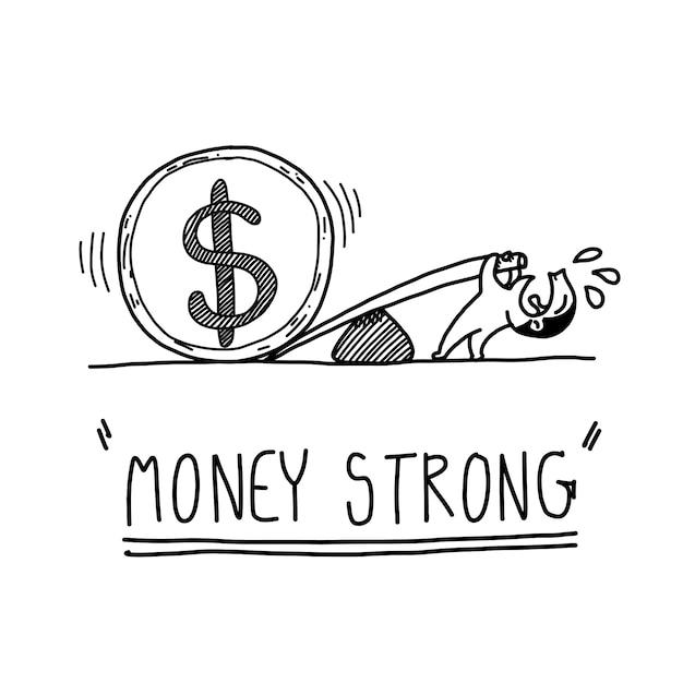 Conceito forte de dinheiro de sorteio de mão dos desenhos animados Vetor Premium