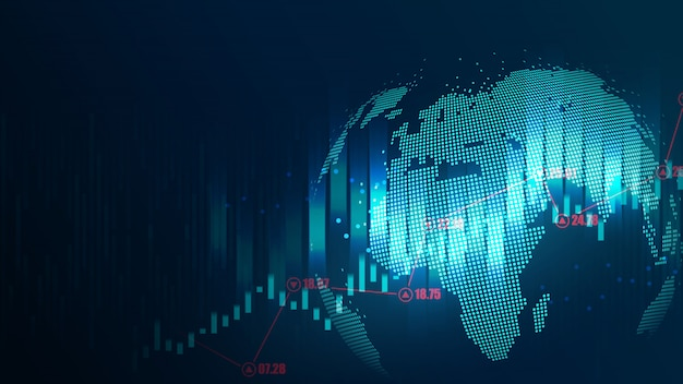 Conceito futurista de global Vetor Premium