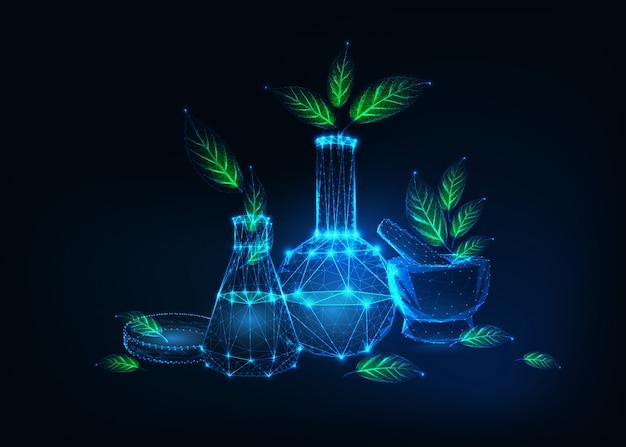 Conceito futurista de tecnologia ecológica com equipamentos de laboratório e plantas verdes Vetor Premium