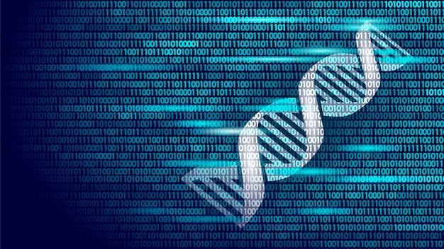 Conceito futuro da tecnologia de computador do código binário do adn, ciência do genoma Vetor Premium
