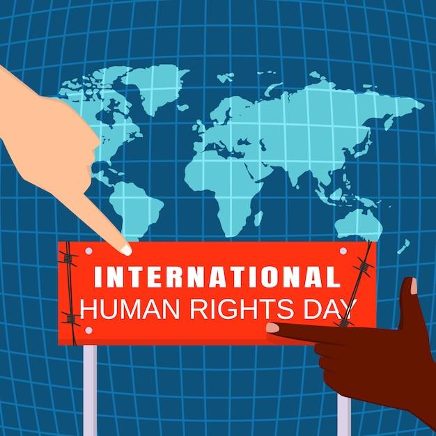 Conceito global de dia dos direitos humanos, estilo simples Vetor Premium
