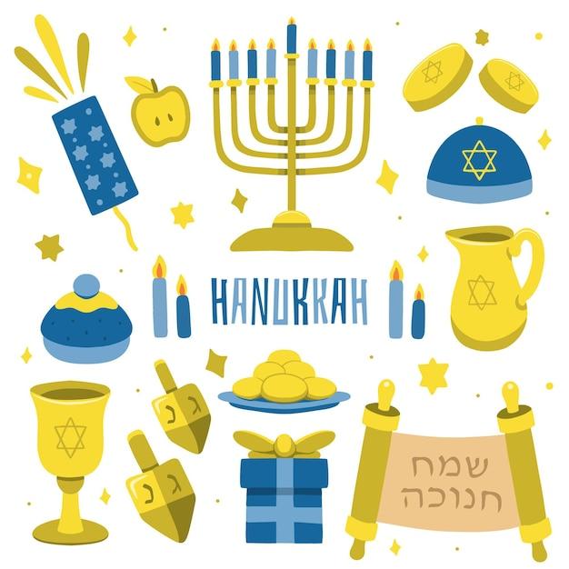 Conceito hanukkah desenhado à mão Vetor Premium
