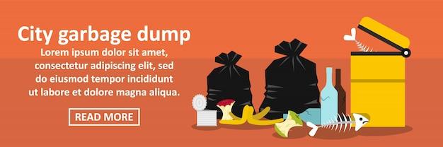 Conceito horizontal da bandeira de despejo de lixo de cidade Vetor Premium