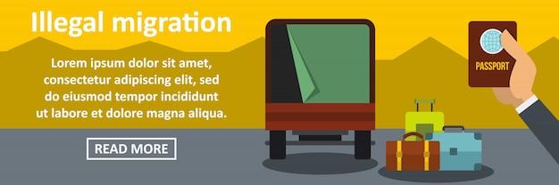 Conceito horizontal de bandeira de migração ilegal Vetor Premium