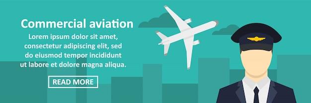 Conceito horizontal de banner de aviação comercial Vetor Premium