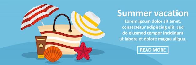 Conceito horizontal de banner de férias de verão Vetor Premium