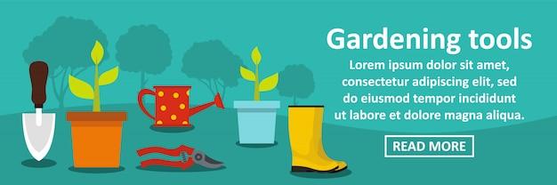 Conceito horizontal de banner de ferramentas de jardinagem Vetor Premium