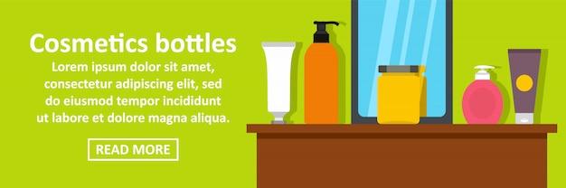 Conceito horizontal de modelo de banner de frascos de cosméticos Vetor Premium