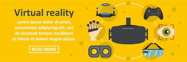 Conceito horizontal de modelo de banner de realidade virtual Vetor Premium
