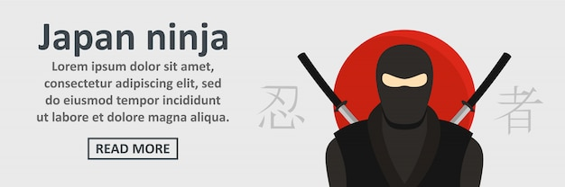 Conceito horizontal de modelo de banner ninja japão Vetor Premium