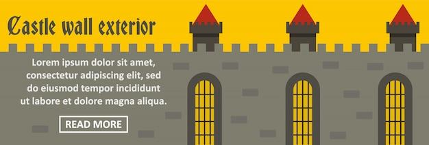 Conceito horizontal do castelo parede exterior banner modelo Vetor Premium