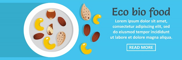 Conceito horizontal do molde da bandeira do bio alimento de eco Vetor Premium