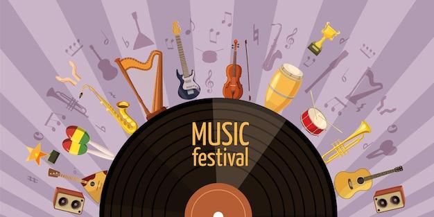 Conceito horizontal festival de música. ilustração dos desenhos animados da bandeira do festival de música horizontal Vetor Premium