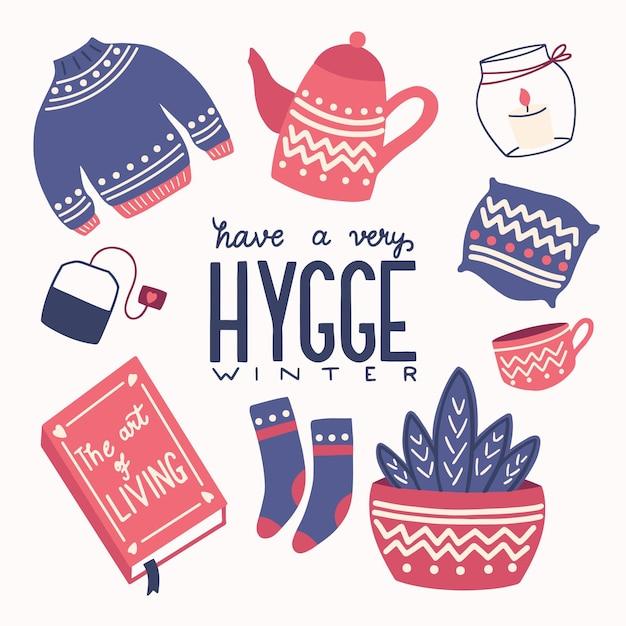 Conceito hygge com letras coloridas de mão e ilustração Vetor Premium